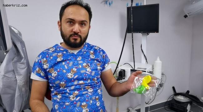 Köpeğin yuttuğu balonlar endoskopi yöntemiyle çıkartıldı