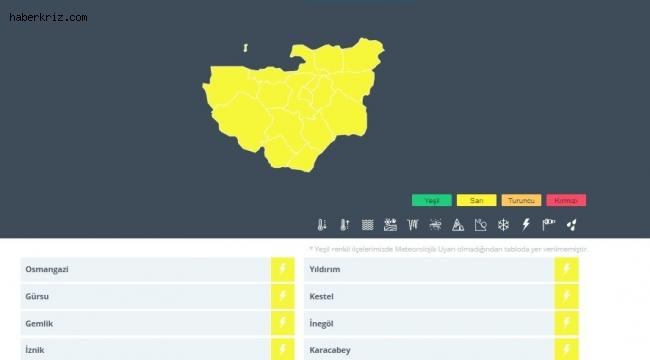 Meteorolojiden yarın Bursa için sarı uyarı