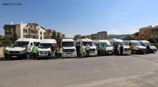 Talas'ta okul servisleri dezenfekte ediliyor